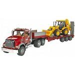 Bruder MACK Granite Truck with Low loader and JCB 4CX Backhoe loader