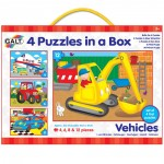 Galt 4 Puzzles in a Box - Vehicles