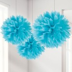 Fluffy Decorations Pom Pom - Turquoise - 40cm - (Pack of 3)