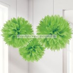 Fluffy Decorations Pom Pom - Lime Green - 40cm - (Pack of 3)