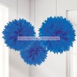 Fluffy Decorations Pom Pom - Blue - 40cm - (Pack of 3)