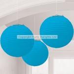 Amscan Hanging Lantern - Turquoise - 24cm - (Pack of 3)