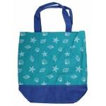 Yello Canvas Beach Bag Shells Aqua